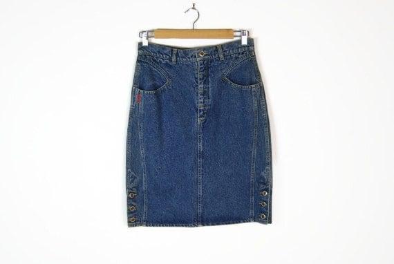 90s denim panel pencil skirt w button sides sz m