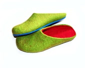 Felted Slippers Green Bright Pink Best Seller Women Slippers 10 color Options Rubber Sole Color Block Slippers 100% Traditional Wool Felting