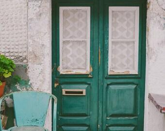 Door Photograph, Travel Photograph, Door Print, Mint Photograph, Emerald Green Photograph, European Photography, Mint Chair, Portugal Photos
