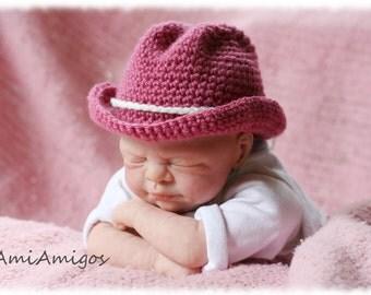 Crochet Dark Pink Cowgirl/boy Hat (Newborn)