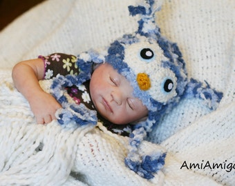 Crochet Blue Fuzzy Owl Hat (Newborn)