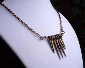 Primitive Multi-metal Spike Necklace on Copper Chain