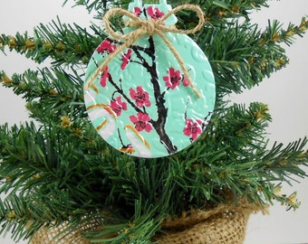 DOUBLE-sided Christmas Ornament. Recycled Soda Pop Can Art  Embossed. Az Tea