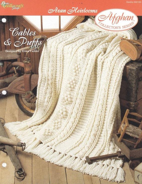 Crochet Pattern Aran Afghan : Items similar to Aran Afghan Crochet Pattern - Cables ...