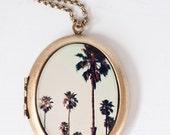 Palm Tree Necklace, California Necklace, Urban, Fashion, Large Oval Locket
