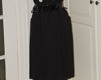 50s 60s Dress, Linen, Wiggle, Hourglass, Larger Size, Black, Shell Buttons, Size L/XL,
