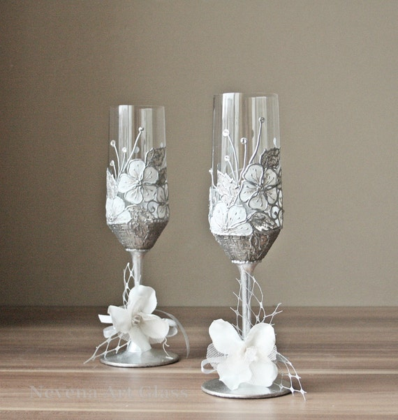hand painted glasses crystal wedding glasses champagne