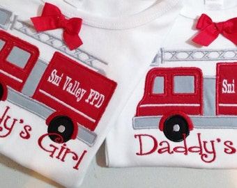 Boy / Girl  Shirt or Onesie  Fire aTruck applique placed  with name and Fire Dept. name