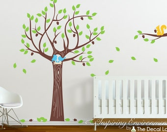 Acorn oak tree wall decal and happy animal friends, happy birds, baby bird nest, and happy squirrel, baby nursery wall decal set WAL-2154