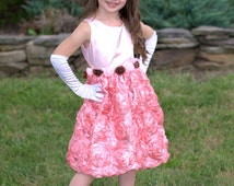 FREE head piece! Gorgeous pink sparkly rosette girl dress or a flower girl dress, formal gown for a special occasion