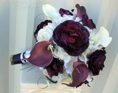 Wedding bouquet, Purple white calla lilies Ranunculus Bridal Flowers