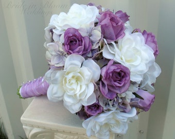 White gardenia Bride bouquet, Lavender rose Wedding bouquet, Silk wedding flowers