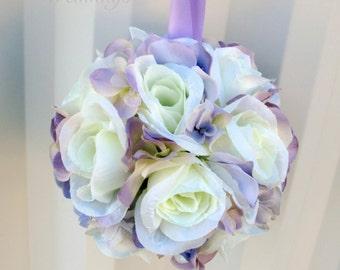 Wedding pomander Flower girl kissing ball Lavender Wedding decorations