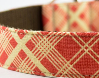 Orange Vintage Plaid Dog Collar