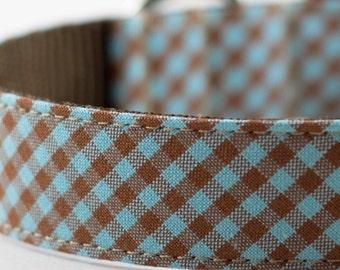 Blue Brown Gingham Dog Collar