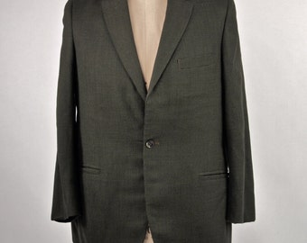 Men's  60's Suit Olive Green and Black Wool Houndstooth Jacket Cuffed Pant Birmingham, Dated