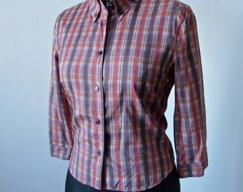 Prada Plaid Top Silk Mauve Red Yellow Button Front and Collar Preppy 3/4 Sleeves Size 40