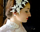 Japanese Ivy -  White Bridal Fascinator With Vintage Japanese White Velvet Ivy Leaves, Lace and Crystal Flowers