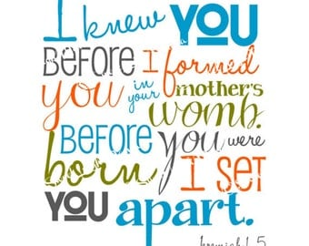 I Knew You Before I Formed You  - Jeremiah 1.5 - Bible Verse - Boy Aqua Orange Green Gray - Christian Art - Baptism Gift - Christening Gift