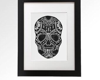 Sugar Skull II. Hand Pulled Linocut print. 9 x 12.
