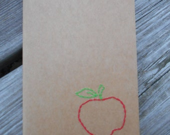 Hand Embroidered Moleskine Notebook -  Apple