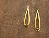 gold teardrop charm, large open teardrop gold-plated brass, focal drop - 2 pieces (800FD)