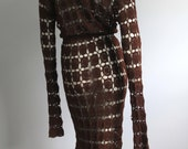 Vintage 1970s Crochet Dress CoCo Brown Granny Square Coverup