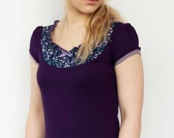 jersey shirt - purple - flowers - ribbon