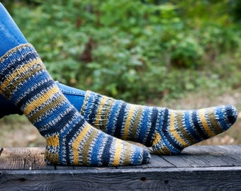 Knitted socks with stripes in blue mustard gray and yellow hand knit in warm and durable wool blend yarn