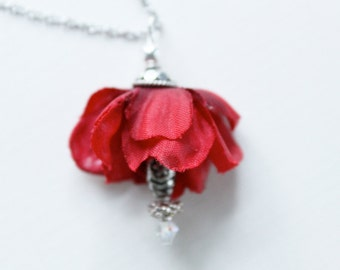 Red Rose Necklace // Blood Roses // a ruffly red flower pendant with a beaded center and an ornate silver top // CLEARANCE SALE