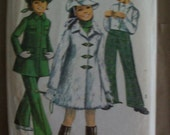 Vintage 1960's Simplicity Girl's Coat, Bell Bottoms and Hat Sewing Pattern Size 8
