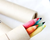 Eco Friendly Recycled Coloring Pencil Set - Great for: coworkers & teacher gifts, eco wedding favors, party favors, back to school (5 piece)