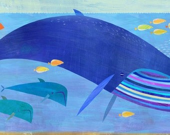 Blue Whale Bunch, Canvas Art Print