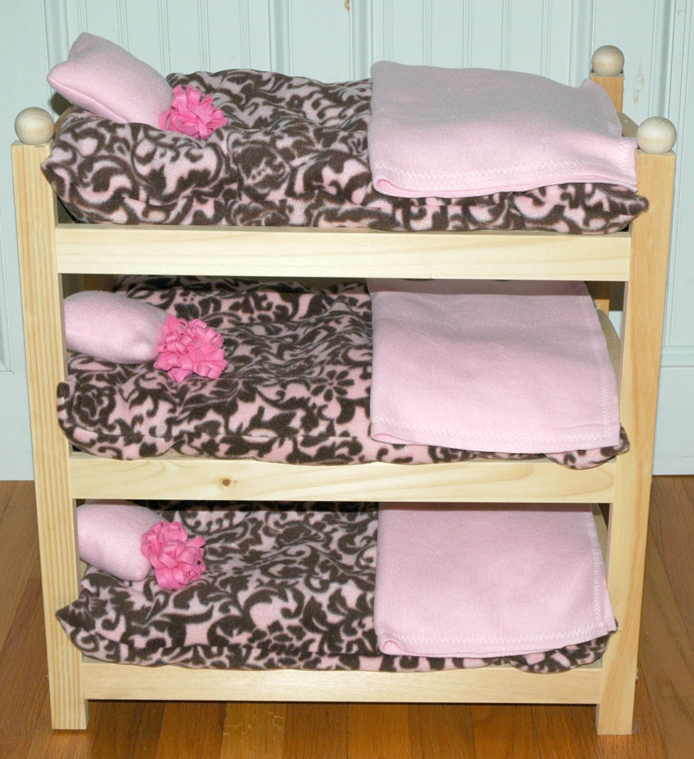 sale doll bed luxe damask triple bunk fits 18 inch dolls. Black Bedroom Furniture Sets. Home Design Ideas