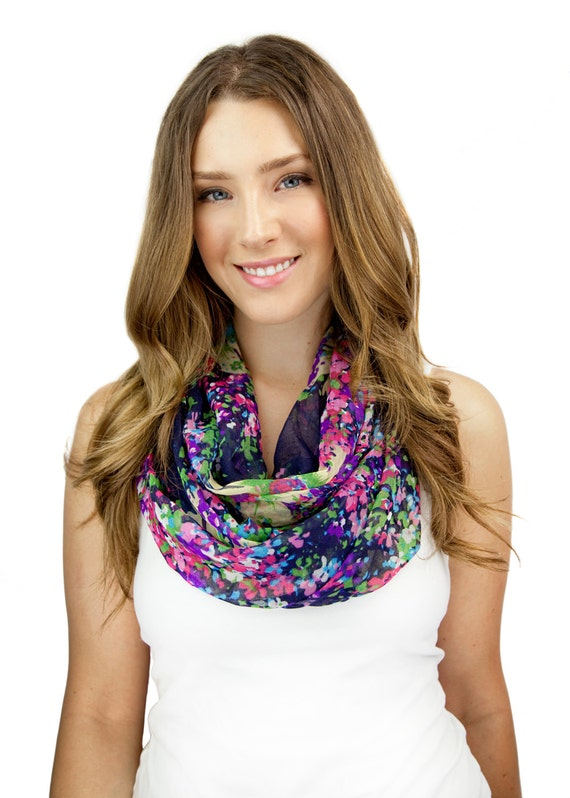 NAVY and pink FLORAL INFINITY scarf, more colors, navy black brown, colorful floral fall scarf