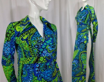 Vintage 1960s Anika paisley dress side slit Maxi long sleeve Green Blue Swim Coverup Mad Men