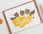 10 Thank You Notecards - Squirrels & Oak leaf