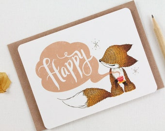 30% OFF - 10 Notecards - Happy Fox
