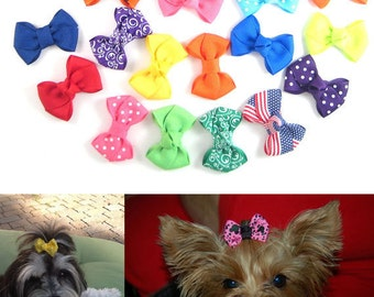 Dog Hair Bows - Choose any 6 from over 100 colors and Prints - Yorkie Shih Tzu Maltese