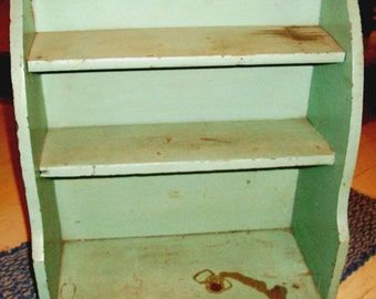 """Antique PRIMITIVE SHELF to Hang Or Stand, Perfect """"Old Green"""" Paint, 3 Shelves, Heavy Solid Wood, Gr8 To Display Collections- SALE!"""