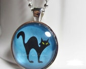 Spooky Black Cat Necklace, Moon Setting, Halloween Pendant with 24 inch chain included