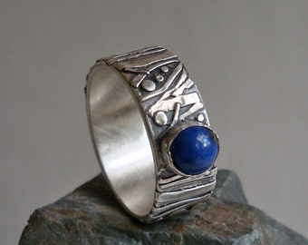 Fine Silver and Lapis Ring  -  Sticks and Stones Ring  -  PMC  -  Size 7 1/2