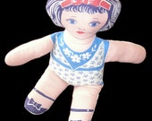 Depression Era Flour Sack Doll, Unique Handmade Toy from Authentic Antique Flour Sack Cut Out Panel,Free US Shipping.