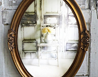 O V A L  Shabby Chic Gold Mirror French Country Nursery Bedroom