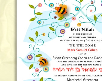 Personalized B'rit Milah Certificate, Bumble Bees
