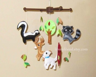 "Baby Crib Mobile - Baby Mobile - Baby Boy Nursery Mobile - ""Skunk and Raccoon Friends"" Mobile (Pick your color)"