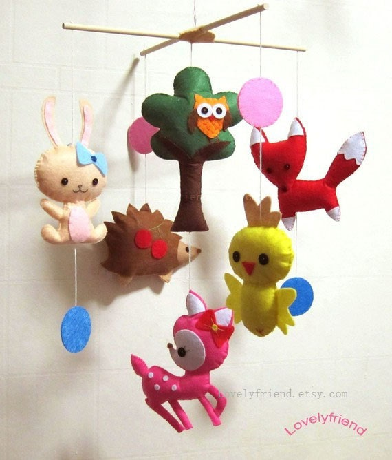 Baby crib mobile baby mobile jungle decorative by lovelyfriend for Woodland animals nursery mobile