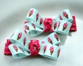 Lorissa - Ice Cream cone boutique bows in hot pink and light blue ribbon