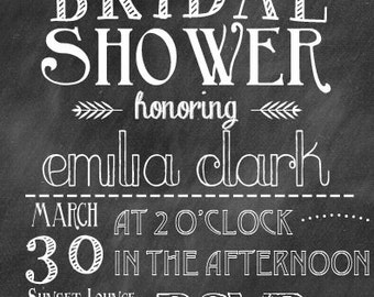 Chalkboard Wedding Shower Invitation - DIY Printing or Professional Prints