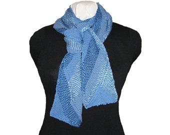 Hand Knit Scarf, Multi Directional, Ribbon Design, Reversible, Blue Tone on Tone, Multi Fibers, Wrap, Accessory, Handmade, Gift